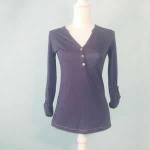 Lilly Pulitzer Navy Blue Rollup Sleeve Top XS